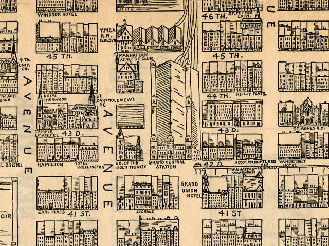 1890 Midtown Manhattan Map