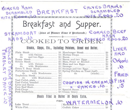1892 Menu