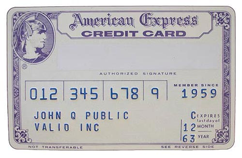American Express card from 1963