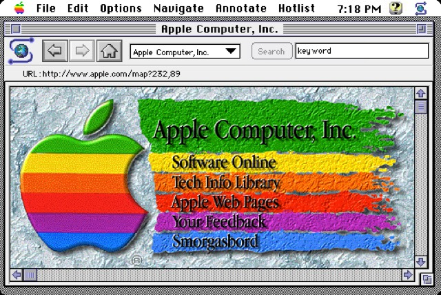 Apple early homepage