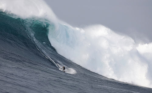 Big wave surfing at Cortes Bank
