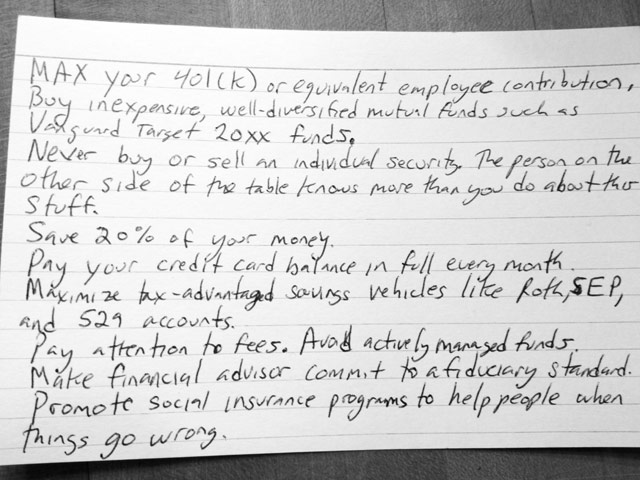 Finance Advice Index Card