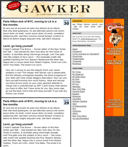 Gawker 2002 design