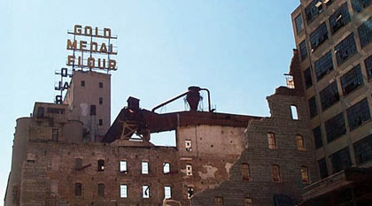 Gold Medal Flour sign on the grain elevators next to the Washburn A Mill, Minneapolis, MN