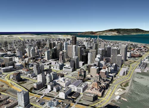 Downtown San Francisco on Google Earth