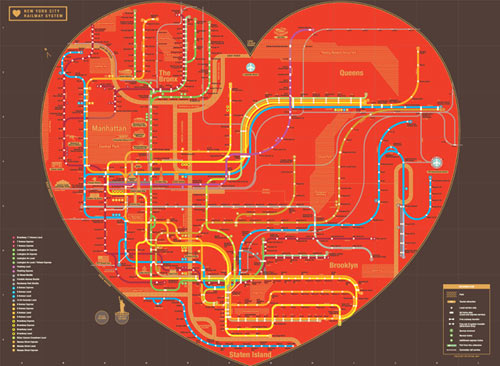 Heart NYC Subway Map