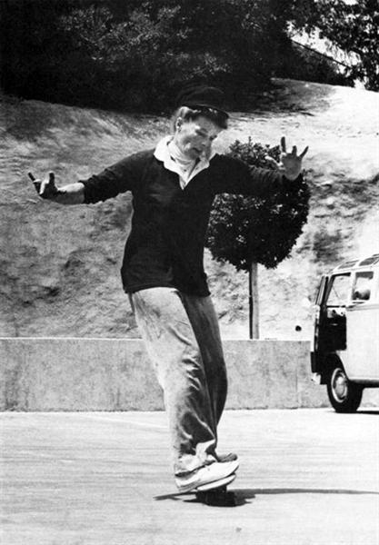 Katherine Hepburn skateboarding