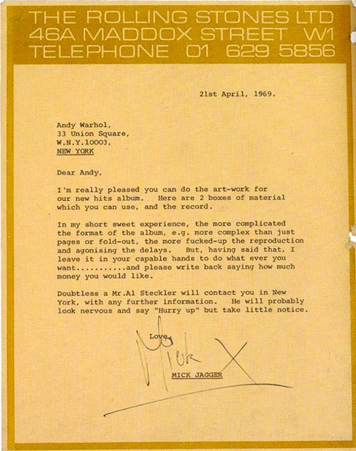Jagger letter to Warhol