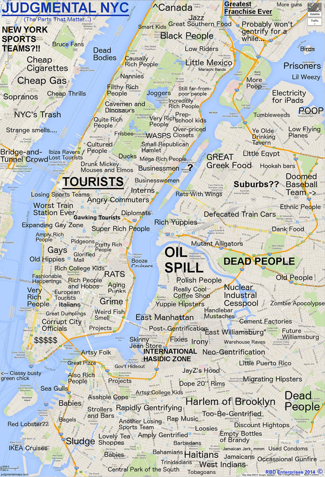 Judgmental NYC map