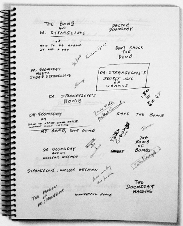 Page from Stanley Kubrick's Dr. Strangelove notebook