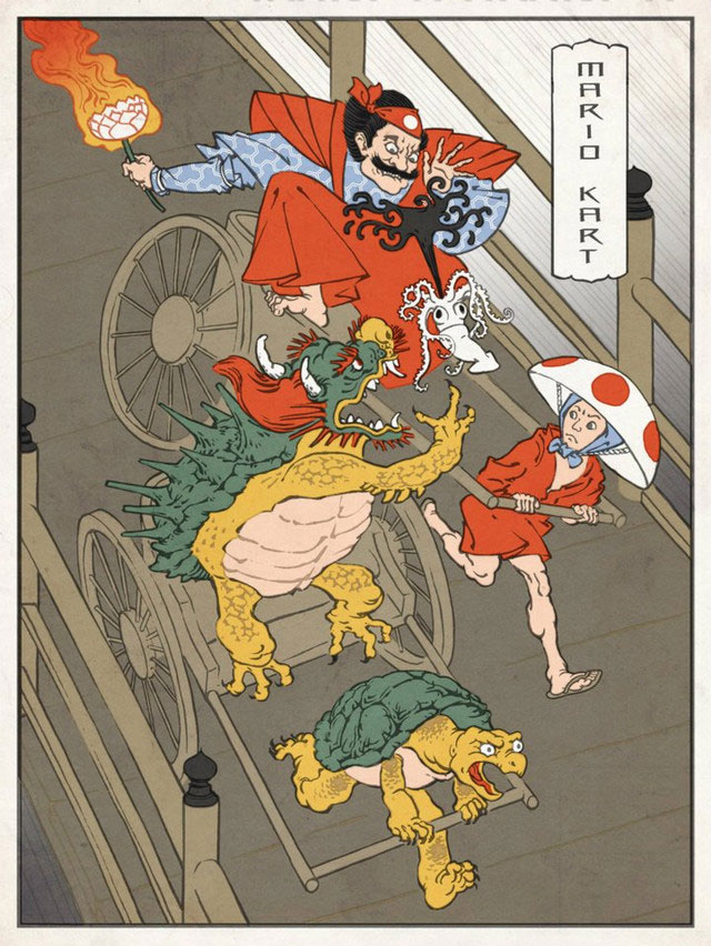 Mario Kart Woodblock