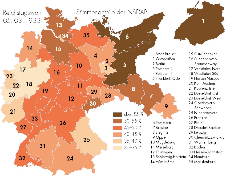 Nazi Support Map 1933