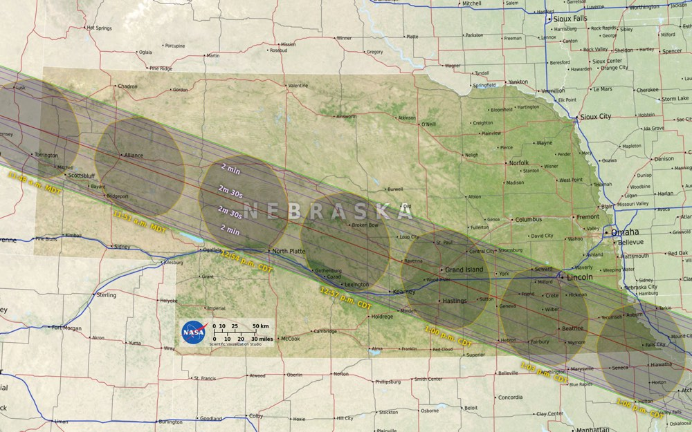 Nebraska Eclipse Map