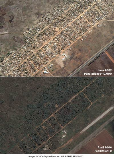 Satellite photos of Porta Farm in Zimbabwe